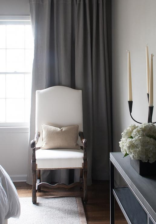 White Camelback Chairs With Gray Curtains Transitional