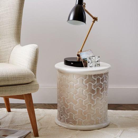 Charming Beige And Cream Tik Tok Side Table