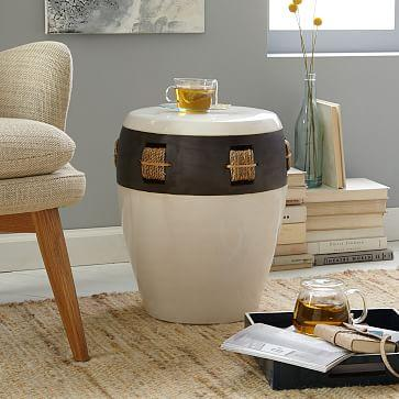 Brown And Cream Potters Side Table