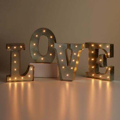 Love Silver Led Battery Operated Marquee Lights