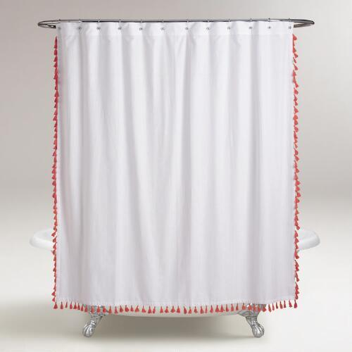 Coral Tassel Shower Curtain