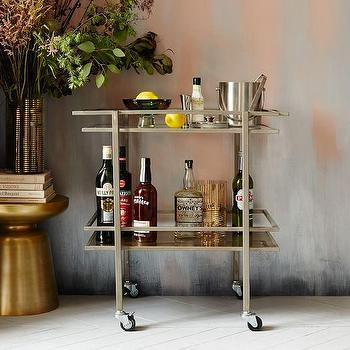 Galvanized Metal Caravan Bar Cart Pottery Barn