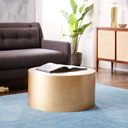 Marble Top Brass Metal Drum Coffee Table