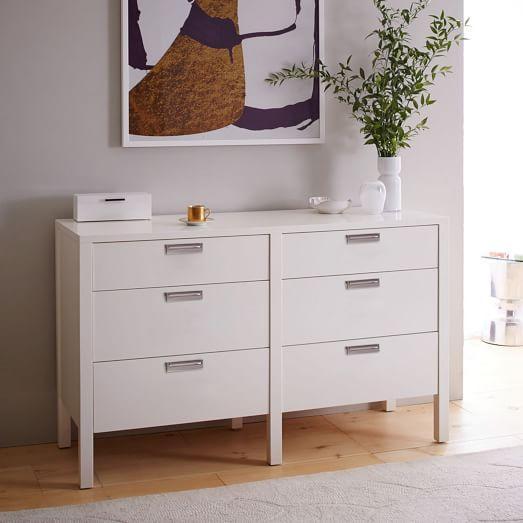 jones white lacquer 6 drawer dresser. Black Bedroom Furniture Sets. Home Design Ideas