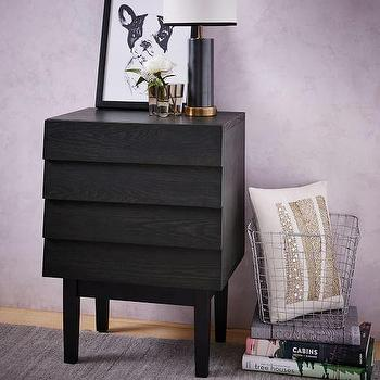 wood louvered 2 drawer black nightstand