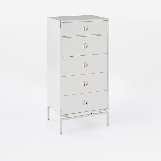 Tall Storage 5-Drawer White Dresser