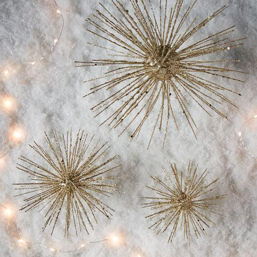 Gold Glitter Burst Ornaments And Tree Topper