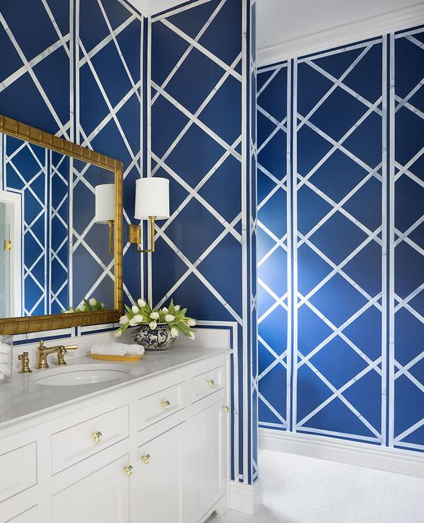 Gold And Blue Bathroom Design Contemporary Bathroom