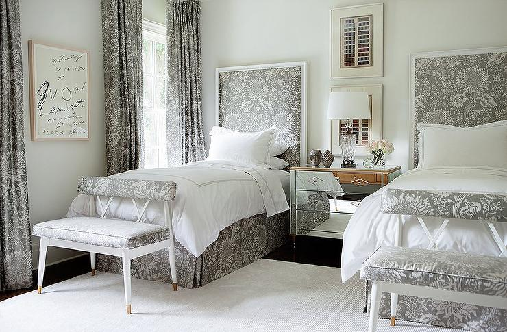 Gray Headboard with Matching Pleated Bed Skirt - Transitional - Bedroom