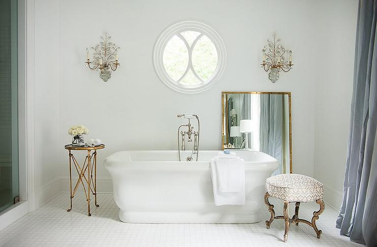 Bathroom Sconces In Mirror french bathroom with mirror and brass wall sconces - french - bathroom