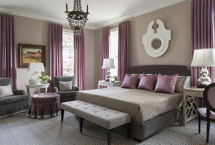 purple and gray bedroom with mismatched nighstands