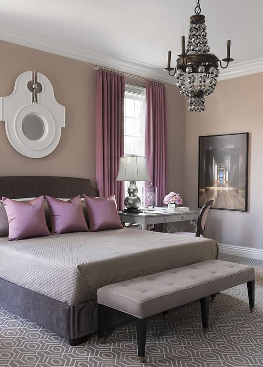 Gray Bed With Purple Pillows Contemporary Bedroom
