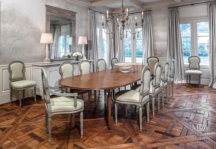 Great Oval Dining Table With Gray French Dining Chairs