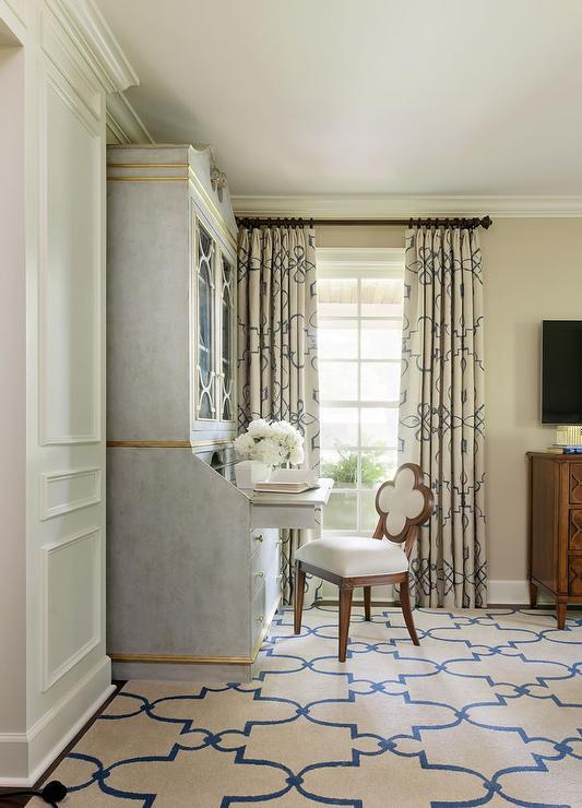 Gray Sedretary Desk With Quatrefoil Chair