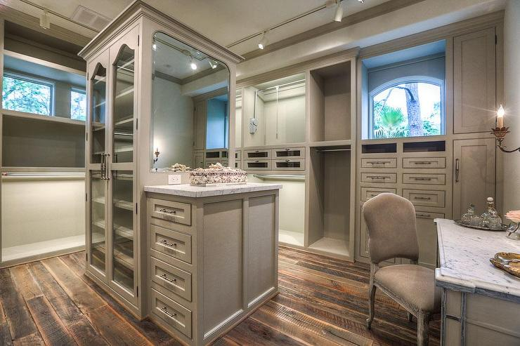 Gray French Walk In Closet With Island Transitional Closet