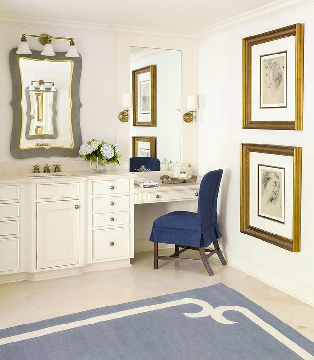 Blue Ruffled Vanity Chair Transitional Bathroom