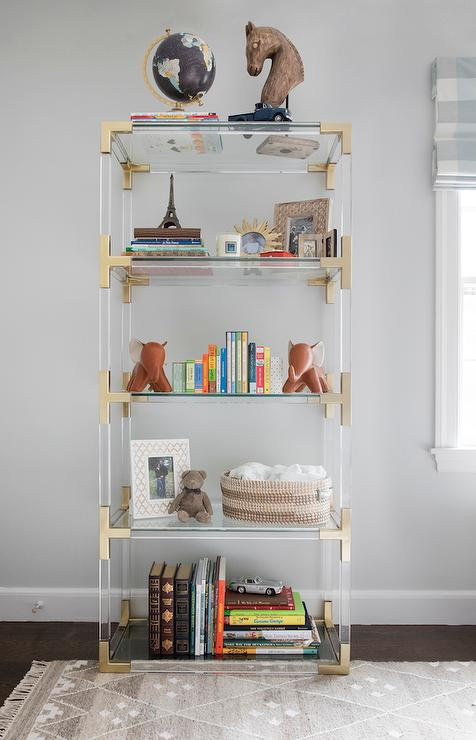 lucite bookshelf bookcase brass bookcases open acrylic bronze leaning clear shelf