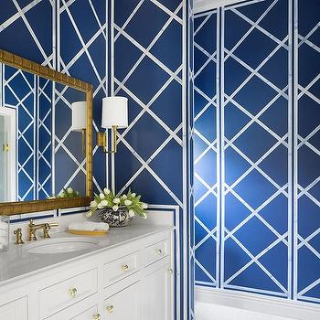 Saul steinberg aviary wallpaper in bathroom contemporary for Blue and gold bathroom ideas