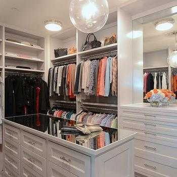 Mirrored Top Closet Island With Bench