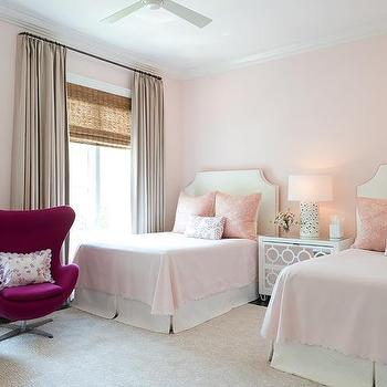 pink girls 39 bedroom features walls painted pale pink lined with a pair