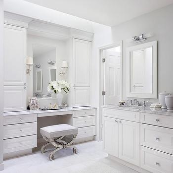 white and gray bathroom with mirrored vanity stool - Vanity Stools For Bathrooms