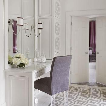 Purple Vanity Chair With Lucite Legs On Gray Geometric Rug