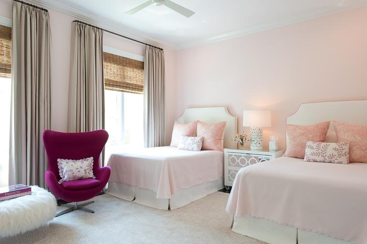 Light pink curtains for kids - Pink Girls Bedroom Features Walls Painted Pale Pink Lined With A Pair