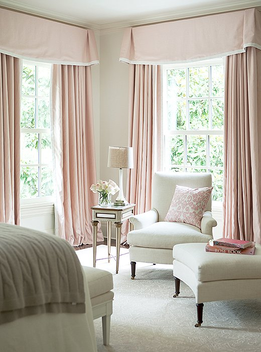 White bedroom with pink valance and curtains traditional for Curtains and drapes for bedroom ideas