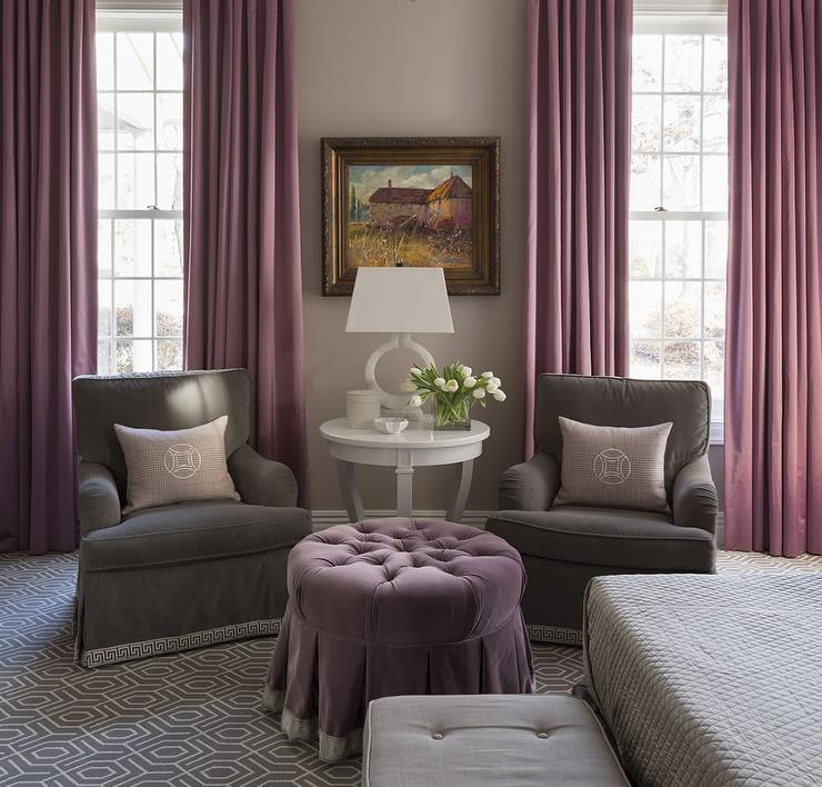 Gray Velvet Roll Arm Chairs with Purple Curtains Contemporary