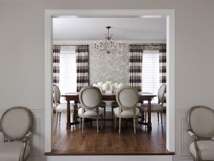 Gray Striped Curtains With F Schumacher Twiggy Champagne Wallpaper View Full Size Beautiful Dining Room Features Walls