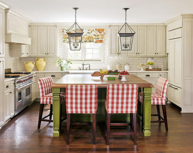 Butcher Block Red Kitchen Island : Butcher Block Island with Red Plaid Counter Stools - Country - Kitchen
