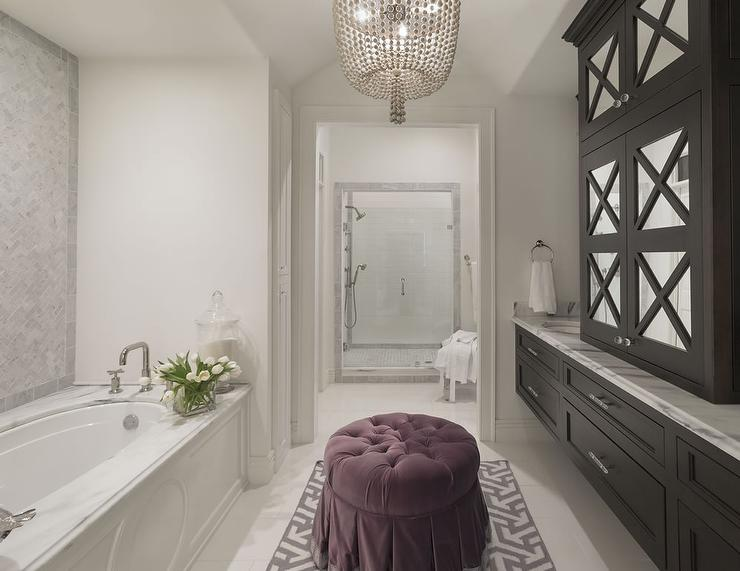 Black and white bathroom with purple accents for Dark purple bathrooms