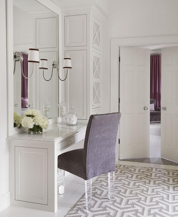 Black And White Bathroom With Purple Accents Design Ideas