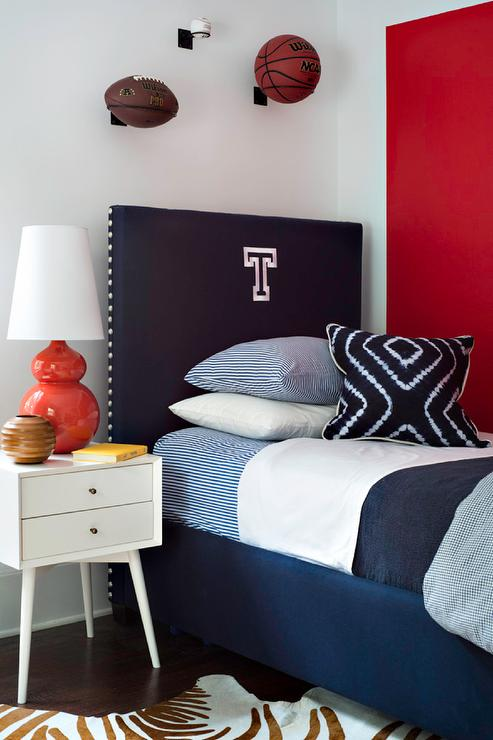 Red and blue boys bedroom with navy monogram headboard for Blue and white boys room