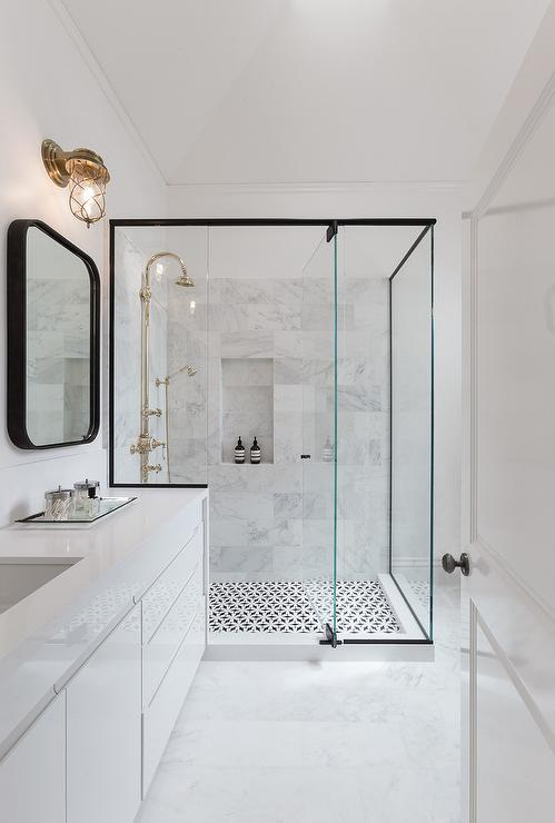 Black and White Shower with Brass Gooseneck Shower Head - Modern ...