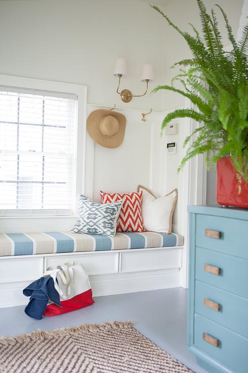 Long Mudroom Window Seat Bench With Striped Cushion