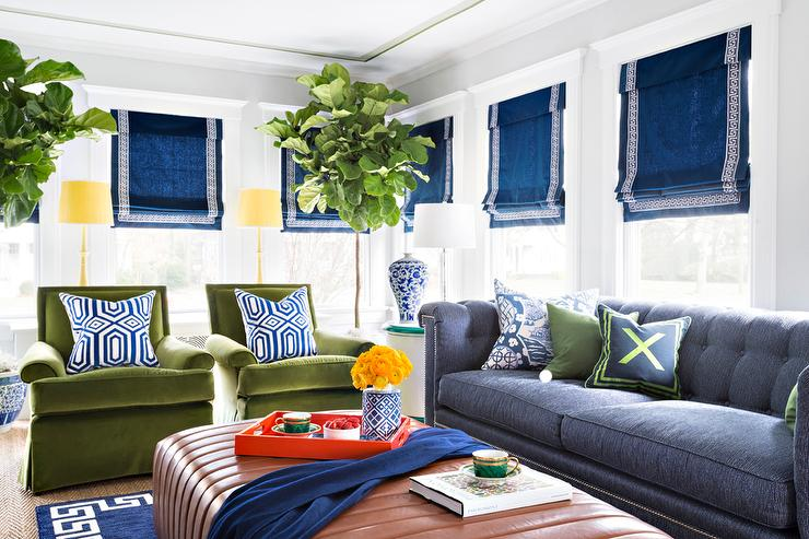 blue and green living room with chesterfield sofa contemporary