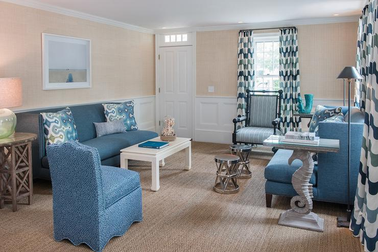 Blue Living Room With Wainscoting View Full Size