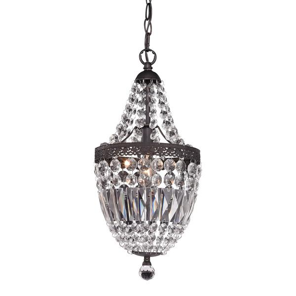 Mini Dark Bronze And Clear Chandelier – Bronze Chandelier with Crystals
