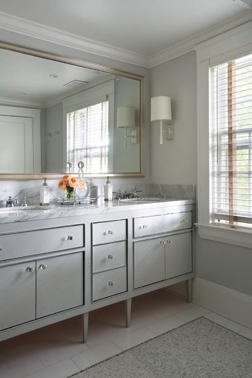Gray Dual Footed Vanity With Gray Mosaic Tile Floor