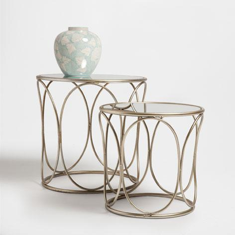 Gold Round Metal And Mirror Table Set
