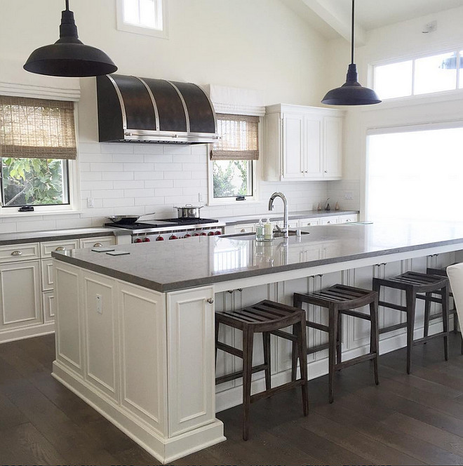 Gray Quartz Top Kitchen Island With Black Vintage Barn Pendants