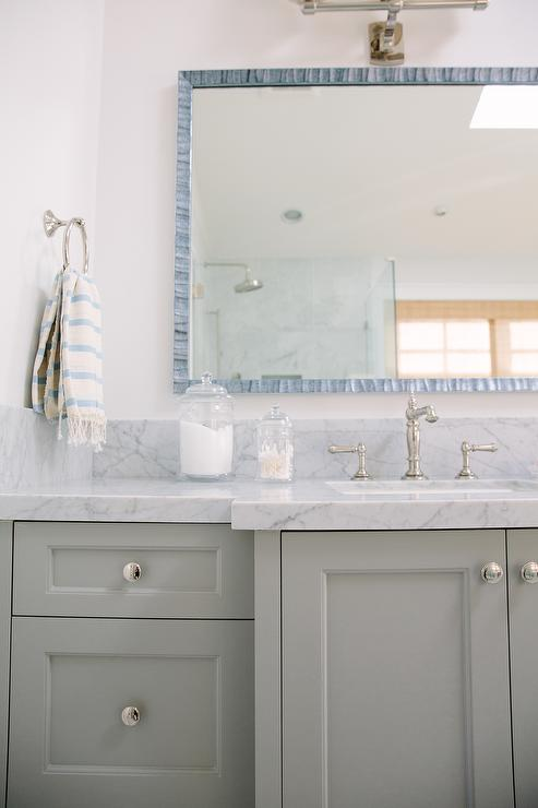 Gray Bathroom Vanity With Blue Mosaic Mirror Transitional Bathroom