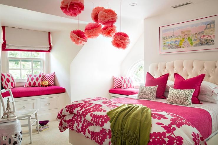 Silver And Pink Girls Bedroom With Hot Pink Headboards