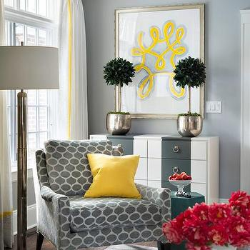 Gray Corner Reading Chair With Canary Yellow Pillow