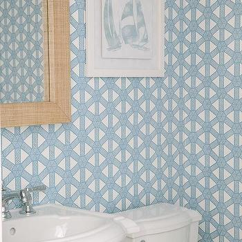 Powder Room With Barneby Gates Deer Damask Wallpaper And