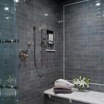 images of tiled showers. Gray Subway Shower Tiles With White Marble Top Bench Tiled Ceiling Design Ideas