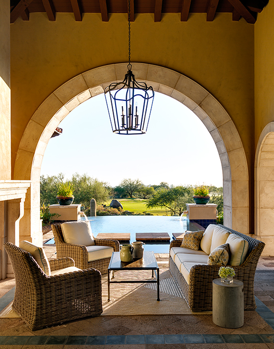 Mediterranean Covered Patio with High Ceilings ...