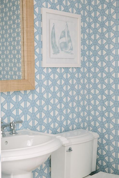Robins Egg Blue Powder Room Wallpaper With Grasscloth Mirror
