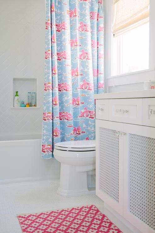 Pink Kids Bathroom With Herringbone Shower Tiles